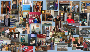 Multiple pictures of Carrboro and Chapel Hill business owners holding the Breastfeeding Welcome Hear cling.