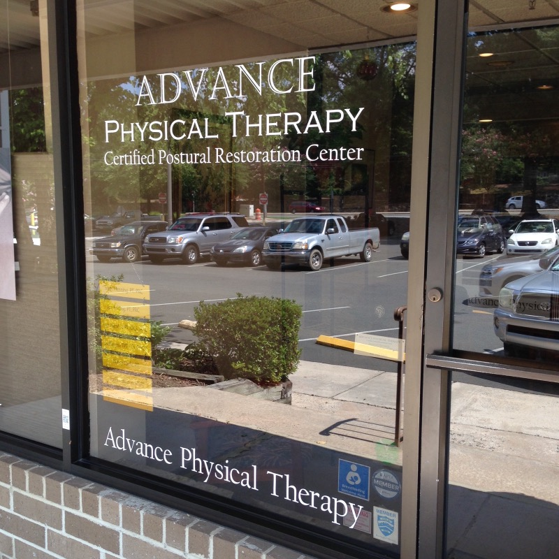 Front window of Advance Physical Therapy business