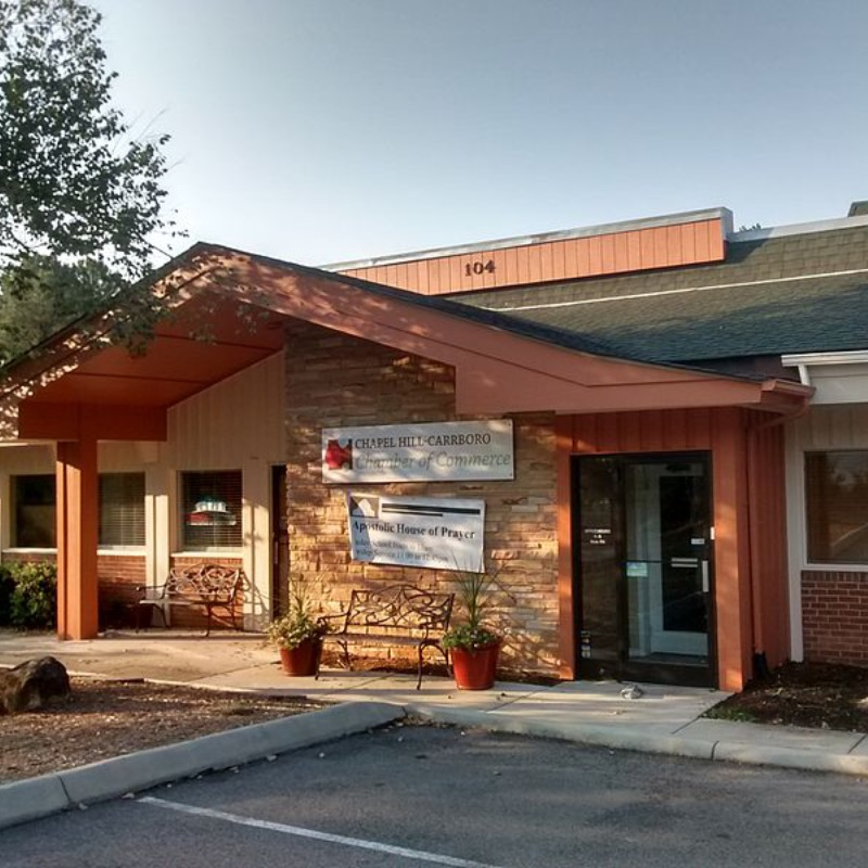Front door and sign for the Chapel Hill-Carrboro Chamber of Commerce