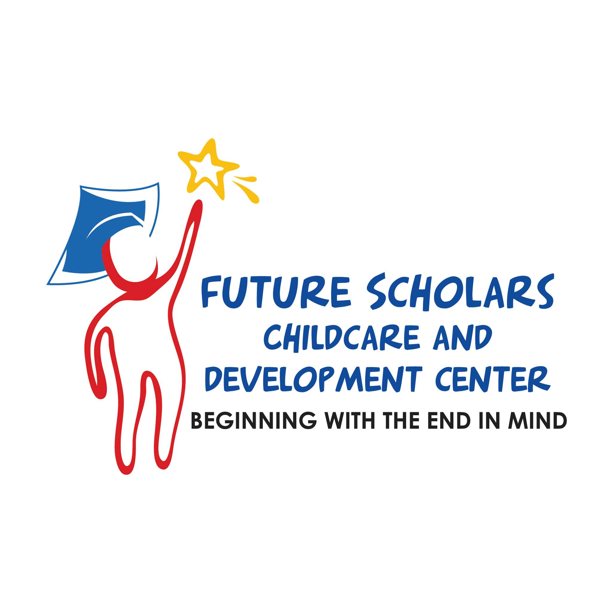 Outline of a child wearing a mortarboard and holding a star in left hand. Text: Future Scholars Childcare and Development Center, Beginning with the End in Mind.