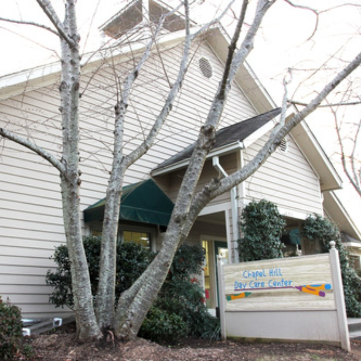 Front of Chapel Hill Day Care Center building and sign.