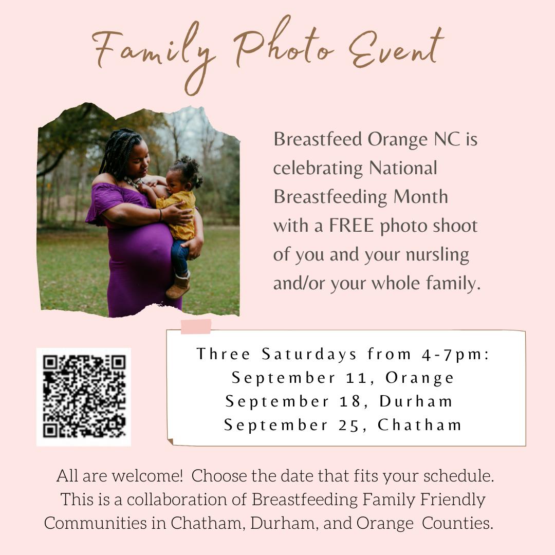 Family Photo event description and dates: Three Saturdays from 4-7pm September 11, orange; September 18, Durham; September 25, Chatham.