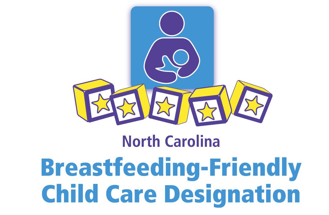 Nursing couple and five blocks with stars inside them and text: North Carolina Breastfeeding-Friendly Child Care Designation